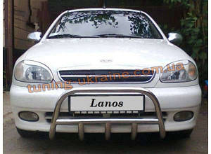 Защита переднего бампера кенгурятник из нержавейки на Daewoo Lanos