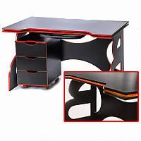 Геймерский стол с тумбой Barsky Game RED LED HG-05/CUP-05/ПК-01, фото 1