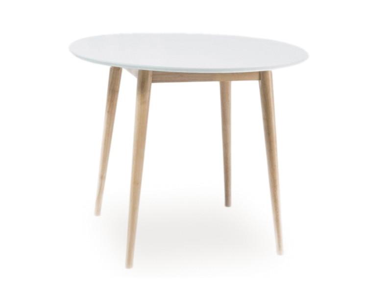 Стол деревянный кухонный обеденный на кухню столовый белый, дуб LARSON 90x90 (Signal)