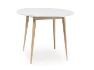 Стол деревянный кухонный обеденный на кухню столовый белый, дуб LARSON 90x90 (Signal), фото 2