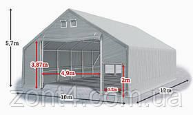 Шатер 10х12х3 метров ПВХ 720г/м2 с мощным каркасом под склад, гараж, палатка, ангар, намет, павильон садовый