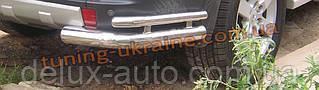 Защита заднего бампера уголки двойные D60-42 на Mitsubishi Pagero Vagon 3 2000-2006