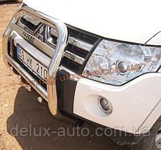 Защита переднего бампера кенгурятник высокий с надписью (нерж.) D70 на Mitsubishi Pagero Vagon 3 2000-2006