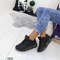 Женские черные кроссовки , А 4242, фото 1