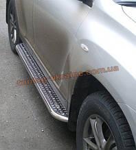 Боковые пороги  труба c листом (нержавеющем) D42 на Kia Sportage 2004-2010