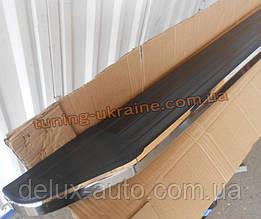 Боковые пороги алюминиевые с резиновым покрытием на Hyundai Santa Fe 2013+ original