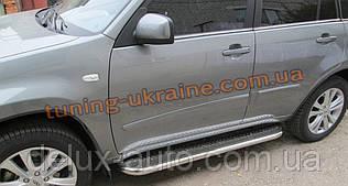 Боковые пороги  труба c листом (нержавеющем) D60 на Hyundai Santa Fe 2013