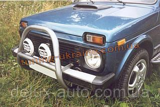 Защита переднего бампера кенгурятник крашенный (без защиты картера) D60 на Lada Niva 2131-21314