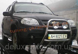 Защита переднего бампера кенгурятник высокий (нерж.) D60 на Chevrolet Niva 2010
