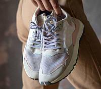 Женские кроссовки Adidas Nite Jogger, White/Orange. Живое фото (Реплика ААА+)