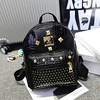 Женский рюкзак маленький черный с заклепками экокожа,уценка!