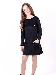 Платье для девочек школьное, чёрное рост 116-140