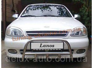 Защита переднего бампера кенгурятник из нержавейки на Daewoo Lanos Хэтчбек