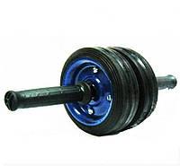 Ролик гимнастический для пресса металлический два колеса (колесо для пресса), фото 1