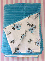 Плюшевый плед на кушетку 120 см на 160 см - бирюзового цвета