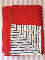 Плюшевый плед на кушетку 120 см на 160 см - красный цвет (пупырышку )