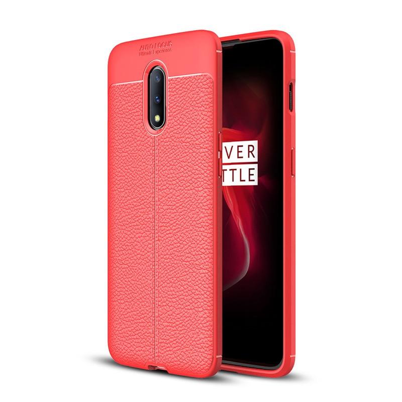 Чехол Auto Focus для OnePlus 7 силикон Original Soft Touch красный