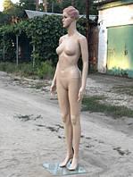 Женский телесный манекен с прической в полный рост на подставке