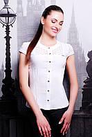 Летняя белая приталенная блузка из прошвы и бенгалина