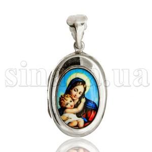 Серебряная ладанка открывающаяся Дева Мария с младенцем 23702