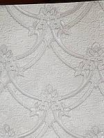 Виниловые обои на флизелине GranDeco Villa danelli VD2101 метровые белый фон вензель серебром