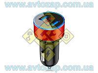 Штекер в прикуриватель - зарядное с вольтметром/амперметром 2 USB 12-24V 3,1А круглый Х661