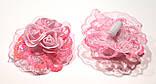 Банты на резинке, три розы и пайетки, розовые. д 7,5 см, фото 2
