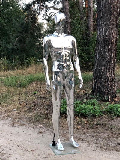Мужской серебристый манекен Аватар в полный рост на подставке