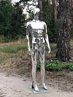 Мужской серебристый манекен Аватар в полный рост на подставке, фото 1