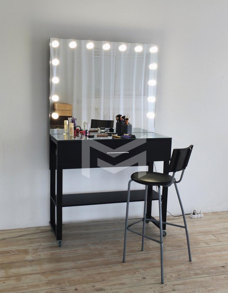 Гримерный столик Atlant с лампочками в зеркале на металлических ножках