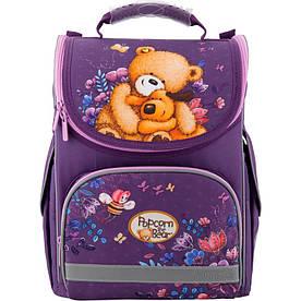 Рюкзак школьный для девочки 6-8 лет Kite Popcorn the Bear каркасный ортопедический, фиолетовый