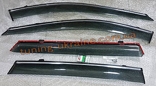 Дефлекторы окон (ветровики) AVTM-Tuning с хром молдингом на Hyundai Sonata 6 2009