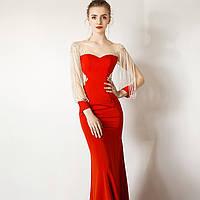 Червона розкішна розшита  вечірня сукня. Расшитое бисером вечерние платье ручной работы