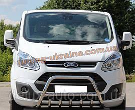 Защита переднего бампера кенгурятник из нержавейки на Ford Transit Custom 2012