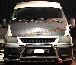 Защита переднего бампера кенгурятник из нержавейки на Ford Transit 2000-2006