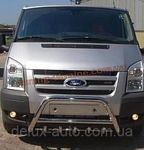 Защита переднего бампера кенгурятник из нержавейки на Ford Transit 2007-2012