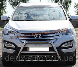 Защита переднего бампера кенгурятник из нержавейки на Hyundai Santa Fe 2013
