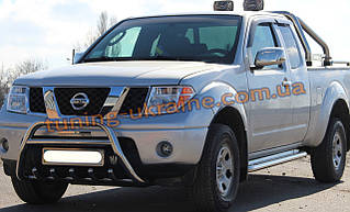 Защита переднего бампера кенгурятник из нержавейки на Nissan Navara 2005-2009
