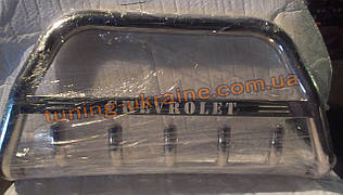 Защита переднего бампера кенгурятник с надписью  из нержавейки на Chevrolet Trans sport 2008
