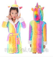 Детский халат кигуруми единорог радужный