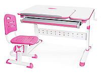 Комплект Evo-Kids стол Martin  WP+стул Evo-301 PN - столешница белая / ножки белые с розовым