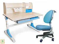 Комплект Evo-Kids кресло Ergotech KBL+парта Ontario WB с полкой  - столешница береза / ножки белые с голубым