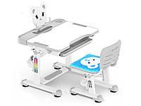 Комплект Evo-kids (стул+стол+полка) BD-04 G Teddy Grey - столешница белая / цвет пластика серый