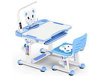 Комплект Evo-kids (стул+стол+полка+лампа) Blue c лампой - столешница белая / цвет пластика голубой