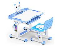 Комплект Evo-kids (стул+стол+полка) BD-04 B (XL) Teddy Blue - столешница белая / цвет пластика синий