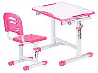 Комплект Evo-kids (стол+стул) Evo-07 Pink - столешница белая / цвет пластика розовый