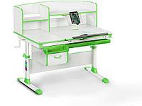 Детский стол Evo-kids (стол+ящик+надстройка) Evo-50 Z (Green) - столешница белая / цвет пластика зеленый