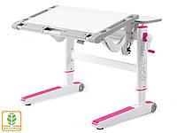 Детский стол Mealux Ergowood M W/PN ( BD-800 W/PN) - столешница белая / накладки на ножках розовые