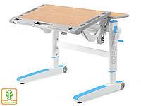 Дитячий стіл Mealux Ergowood L ( BD-810 W/BL) - стільниця біла / накладки на ніжках блакитні