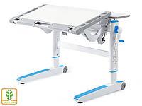 Детский стол Mealux Ergowood L ( BD-810 TG/BL) - столешница береза / накладки на ножках голубые